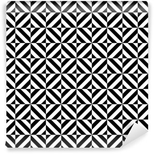 Papel de Parede em Vinil Black and white geometric diamond shape seamless pattern, vector