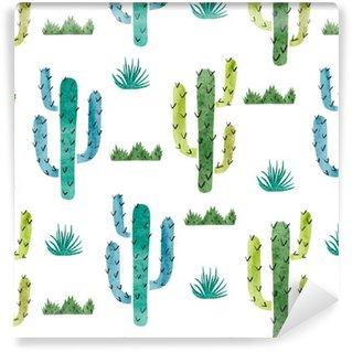 Papel de Parede em Vinil Cactus Aquarela padrão sem emenda. Fundo do vetor com cacto verde e azul isolada no branco.