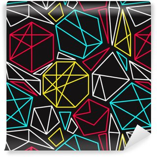 Pixerstick Papel de Parede Conceito de CMYK vector padrão sem emenda geométrico em cores vívidas