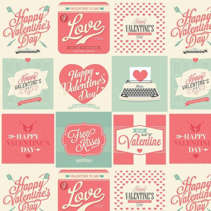 Papel de Parede em Vinil Dia dos namorados feliz vintage retro cartões - Fundos