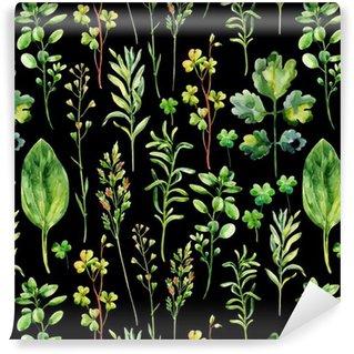 Papel de Parede em Vinil Ervas daninhas prado da aguarela e ervas padrão sem emenda