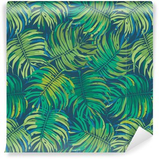 Papel de Parede em Vinil Folhas de palmeira Tropic Seamless Vector Pattern