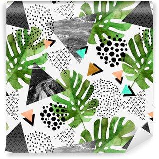 Papel de Parede em Vinil Folhas tropicais de aquarela e fundo de triângulos texturizados