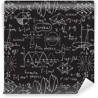 Papel de Parede em Vinil Fórmulas físicas, gráficos e cálculos científicos no quadro. mão tirada vintage laboratório ilustração padrão sem emenda