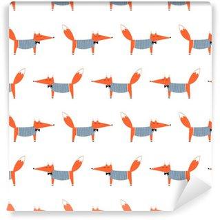 Papel de Parede em Vinil Francês estilo fox padrão sem emenda. Ilustração foxy vector bonito dos desenhos animados. Desenho da criança fundo do estilo do animal. design de moda para tecido, matéria têxtil.