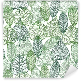 Pixerstick Papel de Parede Green leaves seamless pattern