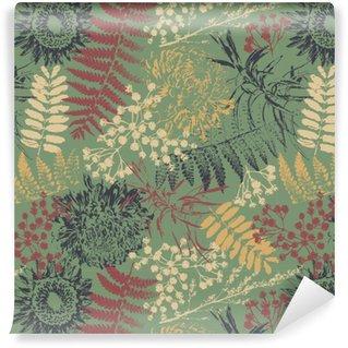 Papel de Parede em Vinil Grunge flores e folhas