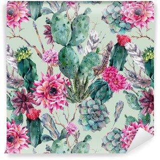 Cactus aquarela padrão sem emenda no estilo boho.