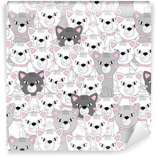 Gatos fofos padrão de padrão sem costura colorido