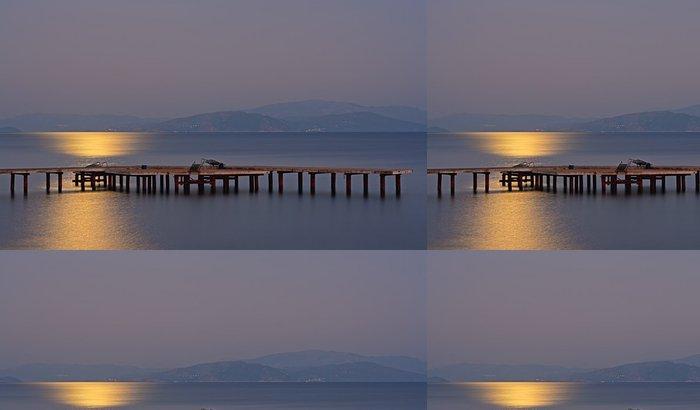 Papel de Parede em Vinil Long exposure on wooden pier with moonlight - Água