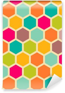 Papel de Parede em Vinil Retro geometric seamless pattern with hexagons