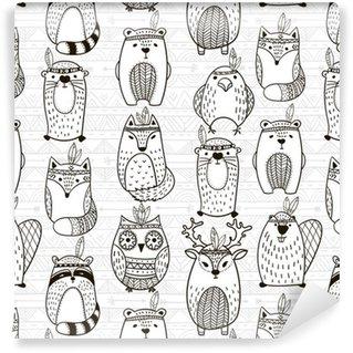 Papel de Parede em Vinil Seamless com animais tribais - Ilustração