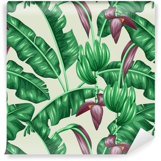 Papel de Parede em Vinil Seamless com folhas de bananeira. Imagem decorativa de vegetação tropical, flores e frutos. Fundo feito sem máscara de corte. Fácil de usar para pano de fundo, têxtil, papel de embrulho