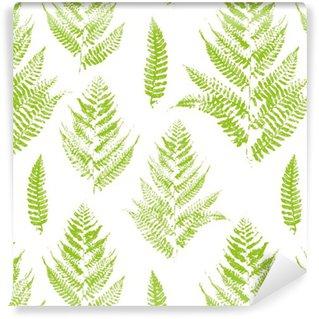 Papel de Parede em Vinil Seamless com impressões de pintura de folhas de samambaia
