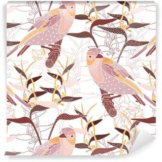 Papel de Parede em Vinil Seamless floral com pássaros