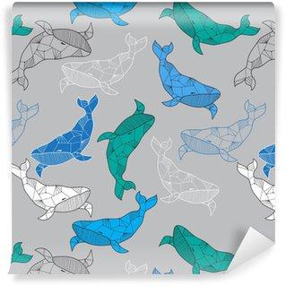 Papel de Parede em Vinil Seamless mar com mão desenhada baleias