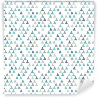 Papel de Parede em Vinil Seamless moderno padrão geométrico triângulos azuis do aqua