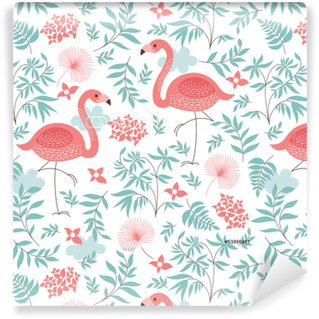 Pixerstick Papel de Parede seamless pattern with a pink flamingo