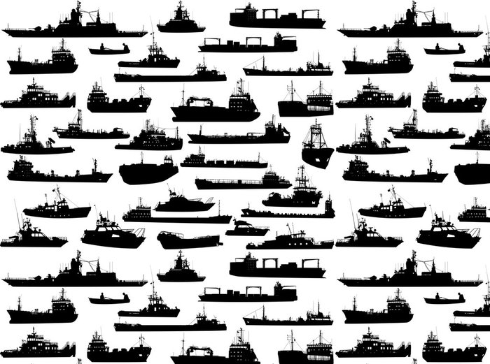 Papel de Parede em Vinil Set of 32 silhouettes of sea yachts, towboat and the ships - Barcos