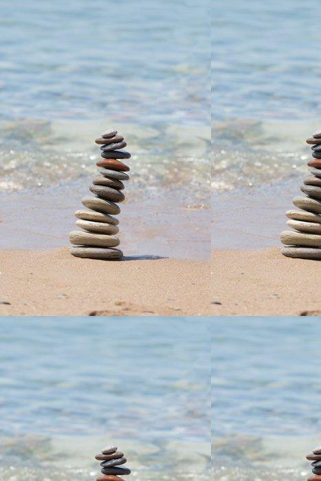 Papel de Parede em Vinil Stack of balanced pebbles - Religião