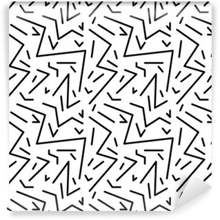 Pixerstick Papel de Parede Teste padrão do vintage geométrico sem emenda no estilo dos anos 80 retro, Memphis. Ideal para o projeto tecido, impressão de papel e website pano de fundo. arquivo do vetor EPS10