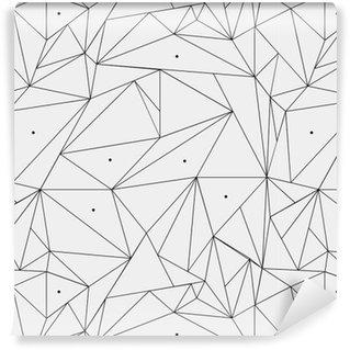 Pixerstick Papel de Parede Teste padrão geométrico preto e branco simples minimalista, triângulos ou janela de vidro colorido. Pode ser usado como papel de parede, fundo ou textura.