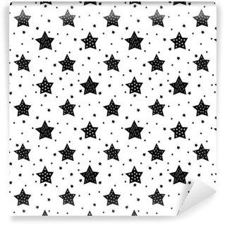 Papel de Parede em Vinil Teste padrão preto e branco sem emenda com estrelas bonitos para miúdos. Bebê branco chuveiro vetor. Desenho da criança padrão de estilo natal.