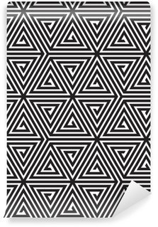 Papel de Parede em Vinil Triangles, Black and White Abstract Seamless Geometric Pattern,