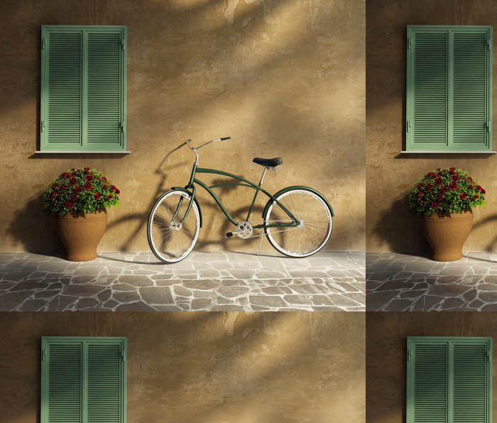 Papel de Parede em Vinil Tuscan stucco wall, doorway antique romantic vintage bicycle - Bicicletas