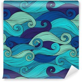 Papel de Parede em Vinil Vector padrão sem emenda com ondas abstratas