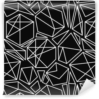 Pixerstick Papel de Parede Vetor preto e branco padrão sem emenda geométrico