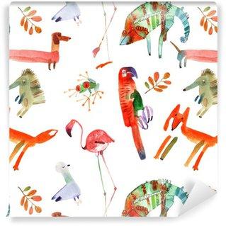 Pixerstick Papel Pintado Animales de la acuarela fijaron