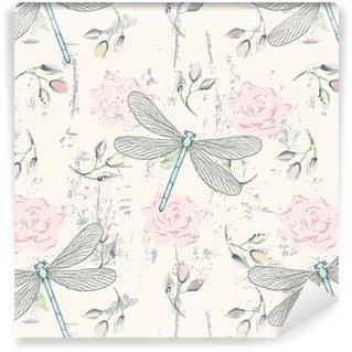 Roñoso sin fisuras patrón floral con las libélulas
