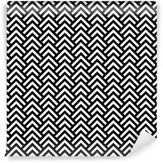 Pixerstick Papel Pintado En blanco y negro sin fisuras patrón chevron geométrico, vector