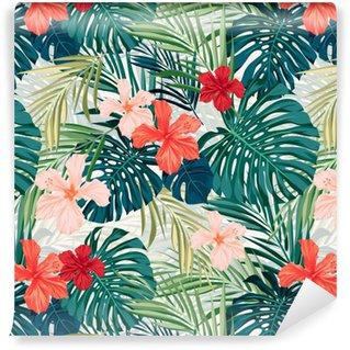 Papel Pintado Estándar Fondo transparente de colores tropicales brillantes con hojas y