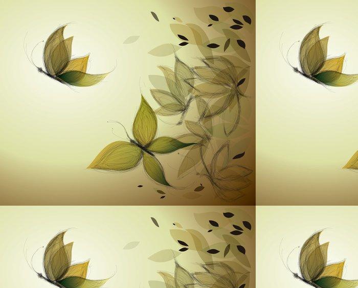 Papel Pintado Estándar Hojas de otoño, como las mariposas / bosquejo surrealista - Para niña
