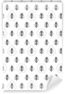 Pixerstick Papel Pintado Las abejas de la textura. Patrón sin fisuras.
