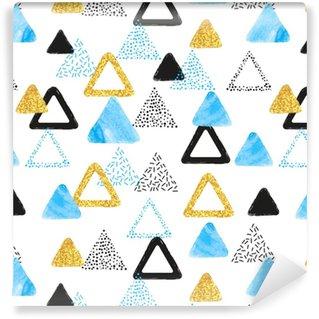 Sin patrón con triángulos azules, negros y dorados. Vector de fondo abstracto con formas geométricas.