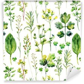Pixerstick Papel Pintado Malezas y hierbas sin patrón prado de la acuarela
