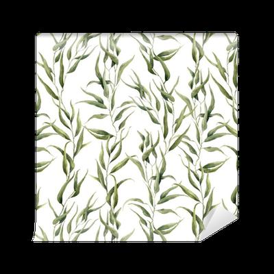 Papel pintado est ndar modelo floral verde de la acuarela - Papeles pintados lavables ...