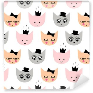 Pixerstick Papel Pintado Modelo inconsútil con los gatos de niña divertida con el sombrero, corona, arco para las vacaciones de los niños en el fondo blanco. gatito de dibujos animados ilustración vectorial de fondo lindo.