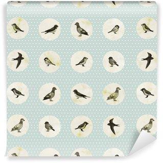 Pixerstick Papel Pintado Modelo inconsútil de la vendimia con los pequeños pájaros lindos. Textura inconsútil para los papeles pintados, patrones de relleno, fondos de páginas web