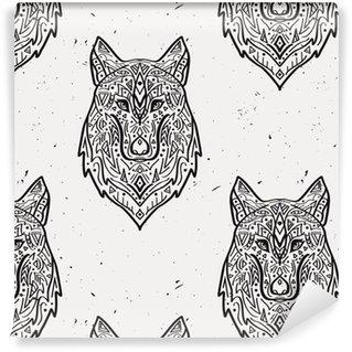 Pixerstick Papel Pintado Modelo inconsútil del vector del grunge en blanco y negro con el lobo estilo tribal con adornos étnicos. motivos indios americanos. diseño de Boho.
