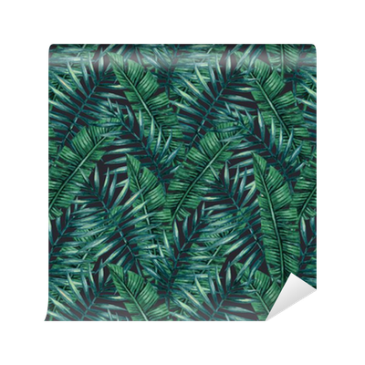 Papel pintado palmera tropical de la acuarela deja patr n - Papeles pintados lavables ...