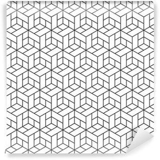 Pixerstick Papel Pintado Patrón geométrico transparente con cubos.