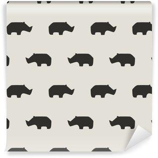 Pixerstick Papel Pintado Patrón sin fisuras de rinoceronte