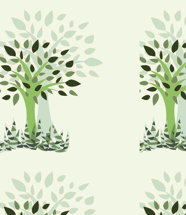 Papel Pintado Estándar Tarjeta con estilizada con el árbol y la hierba - Ilustración - Maravillas de la naturaleza