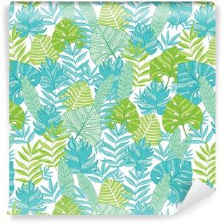 Papel Pintado Estándar Vector azul verde tropical hojas verano hawaiano transparente con plantas tropicales y hojas sobre fondo azul marino. ideal para tela temática de vacaciones, papel tapiz, embalaje.