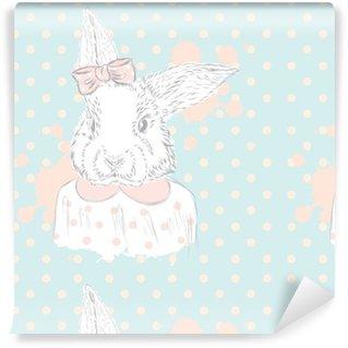 Pixerstick Papel Pintado Vector de conejo. Gráfico de la mano del animal. Impresión . Inconformista. Acuarela Bunny. Postal de la vendimia.