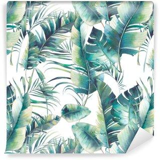 Papel Pintado Estándar Verano palmera y hojas de plátano de patrones sin fisuras. textura de acuarela con ramas verdes sobre fondo blanco. diseño de papel tapiz tropical dibujado a mano